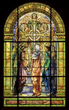 """The Righteous Shall Receive A Crown of Glory"", stained glass window, c.1901. Created by Frederick Wilson, a designer for Tiffany Studio's, NY. ~ {cwlyons} ~ (Image/collection: Corning Museum of Glass)"