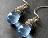 Blue Glass Teardrop Wire Wrapped Earrings in Silver - Elixir of Raindrops