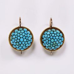 Earrings, gold, pavé-set with turquoises, probably made in England, about 1860
