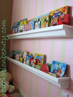 Rain Gutter Bookshelves!  play room....I want to make this whenever I move