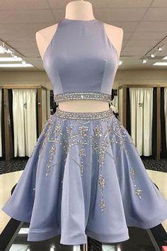 Prom Dresses A-Line #PromDressesALine, Two Pieces Prom Dresses #TwoPiecesPromDresses, Short Prom Dresses #ShortPromDresses