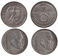 """5-Reichsmark coins without (1936) and with (1938) the Nazi swastika-From 1936 on, all coins except the 1 Reichsmark and the first version (1935–36) of the 5 Reichsmark coin (bearing the image of the late Reichspräsident Paul von Hindenburg) bore the Nazi state insignia. The eagle had two standard designs on most coin denominations, a soaring eagle and large swastika depicted on most earlier issues, and a more """"aggressive"""" eagle with less prominent swastika which became predominant in the…"""
