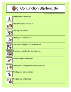 """Free Downloads for  subordinating conjunction 'so' from """"Adventures in Speech Pathology"""" Also Link to the Common Core Standards! Pinned by SOS Inc. Resources http://pinterest.com/sostherapy."""