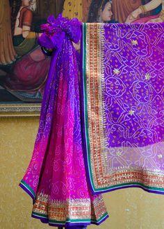 Purple Bandhej Georgette Saree #Vasansi