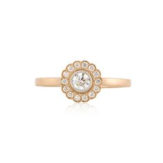 Tiffany & Co. Enchant 18K rose gold and platinum flower ring, diamonds, .25 cttw., G-H color and VVS-VS clarity.