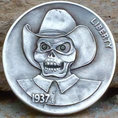"CHRIS ""DECHRISTO"" DEFLORENTIS HOBO NICKEL - THE BONE RANGER - 1937 BUFFALO NICKEL"