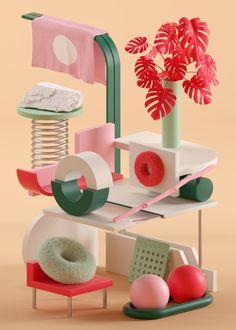 Illustration by Serafim Mendes, a freelance graphic designer based in Porto, Por. Game Design, 3d Design, Corporate Design, 3d Cinema, 3d Figures, 3d Artwork, Freelance Graphic Design, Geometric Art, Motion Design