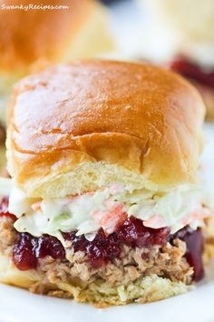 Slow Cooker Pulled Pork Cranberry Slaw Sliders - Porksgiving is upon us and I'm honoring mom with this succulent pork recipe. The sliders take 20 minutes to prep and slow roast for hours. by shauna Slow Cooker Appetizers, Make Ahead Appetizers, Appetizers For Party, Slow Cooker Recipes, Appetizer Recipes, Crockpot Recipes, Cooking Recipes, Party Snacks, Chicken Recipes