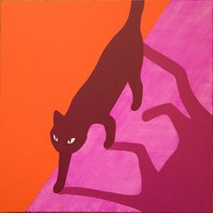 Randall Christopher Acrylic on Wood Painting #cat #art #painting #orange #pink