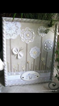Great way to repurpose dolies and vintage brooches. This would be great for a baby's room, using family/heirloom doilies. Either dye the doilies for color or use a colorful fabric backdrop? Framed Doilies, Lace Doilies, Crochet Doilies, Crochet Lace, Crochet Box, Doilies Crafts, Fabric Crafts, Sewing Crafts, Button Art