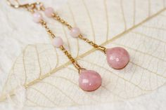 AAA Pink Opal Earrings 14k Gold Filled Long by PrincessTingTing