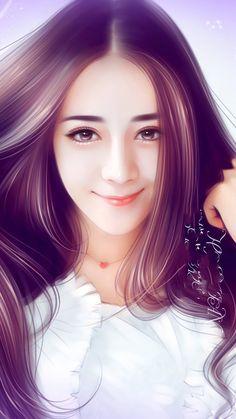 Lovely Girl Image, Cute Girl Photo, Girls Image, Beauty Art, Beauty Women, Animated Love Images, Cute Couple Art, Cute Girl Wallpaper, Painting Of Girl