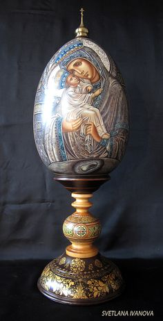 Virgin Mary Of Pochaev - hand painted Easter Egg. http://www.russianfineart.co/catalog/prod.php?productid=18183 Materials: linden, watercolors, white gouache, lacquer, copper-zinc alloy, leaf gold. Master: Ivanova Svetlana