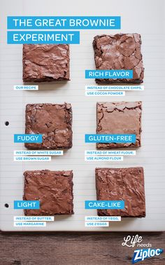 Experiment with different ingredients to get the perfect brownie, every time. Try adding an egg for cake-like brownies, or brown sugar for a dense, chewy brownie. Swap in ingredients like almond flour (gluten-free and gooey) margarine (soft and light), and cocoa powder (dark chocolate flavor) until you find the perfect recipe. Try two recipes and gift a batch in a Ziploc® container!