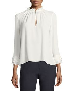 Long-Sleeve+Silk+Georgette+Blouse+by+Rebecca+Taylor+at+Neiman+Marcus.