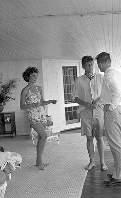 Jakie and JFK shortly after they were married with friend Lem Billings - 1953