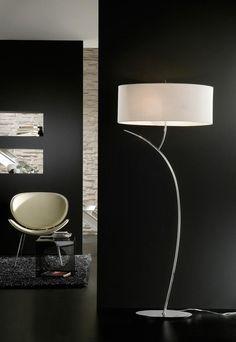 Lámpara de pie cromo blanco EVE - La Casa de la Lámpara