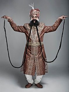 ˚The longest moustache measures 14 feet and belongs to Ram Singh Chauhan from India.