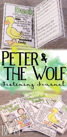 Peter and the Wolf Listening Journal & Fact Sheets Preschool Music, Music Activities, Kids Music, Music Lesson Plans, Music Lessons, Piano Teaching, Teaching Orchestra, Teaching Tips, Music Classroom