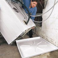 under washer tray should be around $30, also look at auto water shut off valve or water leak alerts