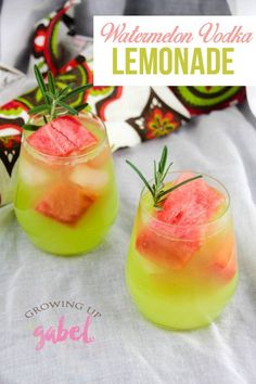 Watermelon vodka lemonade is a fresh and easy summer cocktail. Blend two watermelon flavored alcohols with lemonade and add fresh frozen melon chunks to keep it all cold.