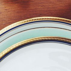 Vintage bavaria plates wiht gold decor. Modern, mint color plate. Mixed cutlery