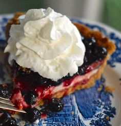 No Bake Blueberries & Cream Pie. Uses cream cheese. This would be good for the summer.