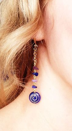 Earrings with Amethyst Chips Beads and Czech Beads.