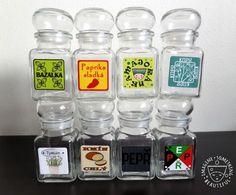120 etiket na kořenky a jiné potravinové dózy Spice Jar Labels, Spice Jars, Tzatziki, Korn, Garam Masala, Drink Bottles, Barbecue, Mason Jars, Spices