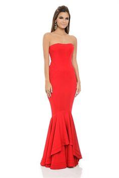 Vestido Longo TQC Sereia Vermelho Japonês - roupas-festas-vestido-longo-tqc-sereia-vermelho-japones Iorane