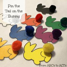 Pin the tail on the bunny color matching game for Easter
