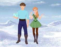 Alex and Steve in the Snow Queen Scene Maker.