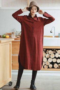 Red Linen Plaid Casual Loose Shirt Dress,Winter Long Shirt for Women