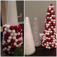 DYI Christmas Trees! 1. Pick your tree cone form (A.C. Moore/Michaels) 2. Get any type of Christmas beads or ornaments 3. Get your hot glue gun ready... 4. Glue on your beads or ornaments starting from the bottom up! It's that easy!