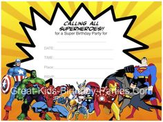 Free #Superhero Invitations - Superhero Printables including invitations, superhero bubbles, coloring pages and lots more!