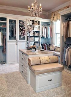 Traditional Closet with Bordeaux Dream Granite Countertop, Built-in bookshelf, Window seat, Venice Raised Panel Cabinet Door