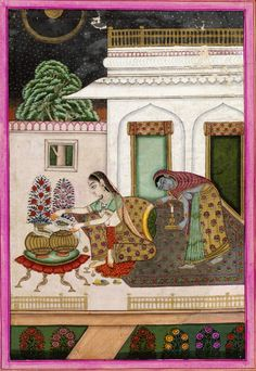 Gunakali or Kalyan Ragini making bouquet, opaque watercolour on paper, Hyderabad, ca. 1830.