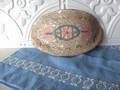 Vintage Artisan Stoneware Wall Pocket 1980s Doily by BarberryLane