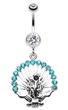 Moon Hugging Fairy Gold Silver AB Aqua Belly Ring Navel Dangle CZ Body Jewelry