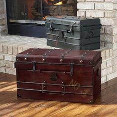 Get inspired by Industrial Bedroom Design photo by Wayfair. Wayfair lets you find the designer products in the photo and get ideas from thousands of other Industrial Bedroom Design photos. Storage Trunk, Storage Chest, Decorative Trunks, Decorative Metal, Decorative Storage, Camp Trunks, Industrial Bedroom Design, Vintage Trunks, Vintage Suitcases