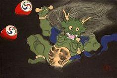 神坂雪佳 『雷神』-木版画