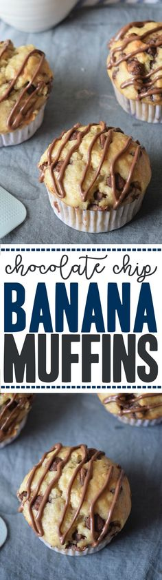 Easy Chocolate Chip Banana Muffins Recipe - this is a simple baking recipe made with ripe bananas, vanilla extract, milk and butter
