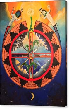 Navajo Mythology Of The Southwest. Mythologies Canvas Print featuring the painting Dine Bikeya by Sean Begaye Native American Paintings, Native American Pictures, Native American Artists, Indigenous Peoples Day, Indigenous Art, Canvas Art, Canvas Prints, Art Prints, Navajo Language