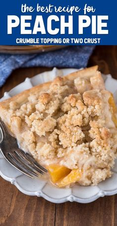Peach Pie is such an easy pie recipe. Make this easy peach pie with a crumble topping or as a double crust pie or even with a lattice! It's the perfect peach pie recipe. Best Peach Pie Recipe, Easy Peach Pie, Peach Pie Recipes, Easy Pie, Pie Crumble Topping, Peach Crumble Pie, Peach Pie Filling, Peach Slab Pie, Gastronomia