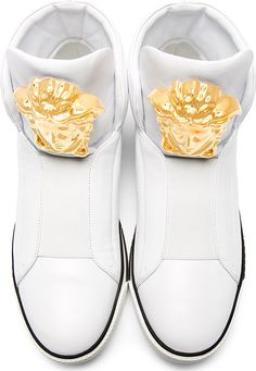 Versace: White Leather Medusa High-Top Sneakers