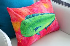 Fish Pillow Mahi Print Fish Print Pillow Sea Creature  by coastal artist Alexandra Nicole Newton