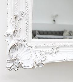 Hampshire - White Ornate Full Length Mirror x x White Floor Mirror, Antique Floor Mirror, Ornate Mirror, Wood Mirror, Beveled Mirror, Mirrors, Standing Mirror, Hampshire, Antiques