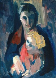 The artist's wife and baby, 1937 - by David Bomberg (1890 - 1957), UK