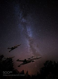X-Wing Squadron in Sweden  I had two useless photos one of the Milky Way and one of a model of an X-Wing. I got the idea to merge them together and create this squadron of X-Wings patroling the Swedish woods.--Jacob Surland Easy to read and understand tutorials on http://ift.tt/Hp7OpA  Art sale as limited prints. Photo by Jacob Surland  Licensed Creative Commons non-commercial v4.0.  No Derivative Work. Protected by Pixsy.com.  Camera: Canon EOS 400D DIGITAL Lens: EF24-105mm f/4L IS USM…