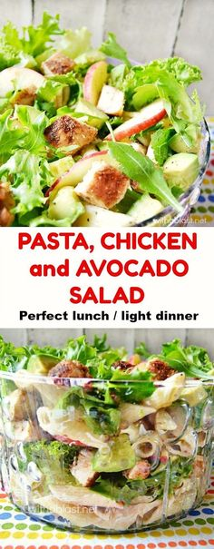 Filling Pasta Chicken and Avocado Salad ~ perfect lunch or light dinner on a warm Summer day
